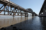 Railroads Photos - Amtrak Train Riding Atop The Benicia-Martinez Train Bridge in California - 5D18830 by Wingsdomain Art and Photography