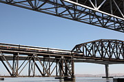 Railroads Photos - Amtrak Train Riding Atop The Benicia-Martinez Train Bridge in California - 5D18835 by Wingsdomain Art and Photography