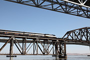 Carquinez Strait Metal Prints - Amtrak Train Riding Atop The Benicia-Martinez Train Bridge in California - 5D18837 Metal Print by Wingsdomain Art and Photography