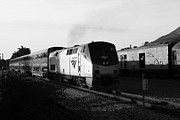 Black And White Photographs Photos - Amtrak Trains at The Niles Canyon Railway In Historic Niles District California . 7D10857 . bw by Wingsdomain Art and Photography