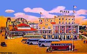 Amusement Parks Paintings - Amusement Park And Plaza Hotel In Asbury Park N J In 1940 by Dwight Goss