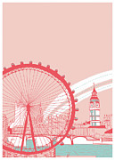 British Culture Prints - Amusement Park Print by Thanks Love Happy Peace Smile