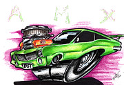 Custom Ford Drawings Metal Prints - Amx Metal Print by Big Mike Roate