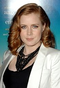 Gold Necklace Metal Prints - Amy Adams Wearing A Tom Binns Necklace Metal Print by Everett