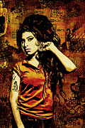 Red Mixed Media Framed Prints - Amy Winehouse 24x36 MM Reg Framed Print by Dancin Artworks
