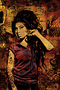 Colorful Photography Mixed Media Framed Prints - Amy Winehouse 24x36 MM Variant Framed Print by Dancin Artworks