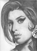 Singer Drawings - Amy Winehouse by Karen  Townsend