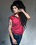 Club Framed Prints - Amy Winehouse Red Shirt Framed Print by Tom Carlton