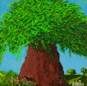 Slate Paintings - Amys Tree by Angela Annas