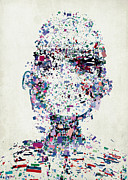 Colored Background Art - An Abstract Illustration Of A Persons Head Made Up Of A Collection Of Colorful Fragments by Nikolai Larin