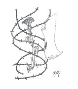 An Abstract Rose - Sketch Print by Robert Meszaros