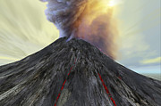 Stratovolcano Posters - An Active Volcano Belches Smoke And Ash Poster by Corey Ford