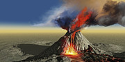 Geography Digital Art - An Active Volcano Belches Smoke by Corey Ford
