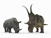 Rhinoceros Digital Art Framed Prints - An Adult Diabloceratops Compared Framed Print by Walter Myers