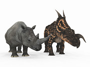 Rhinoceros Digital Art Framed Prints - An Adult Einiosaurus Compared Framed Print by Walter Myers