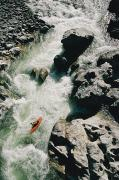 River Scenes Posters - An Aerial View Of A Kayaker Poster by Skip Brown