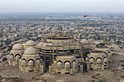 Mosque Photos - An Aerial View Of Saddam Hussiens Great by Terry Moore