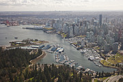 Harbours Framed Prints - An Aerial View Of The City Of Vancouver Framed Print by Taylor S. Kennedy