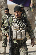 Uniforms Metal Prints - An Afghan Soldier Provides Security Metal Print by Stocktrek Images