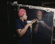 Discrimination Photo Prints - An African American Rosy The Riveter Print by Everett