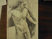 Homoerotic Drawings Originals - An After Shower by Bobby Boyer