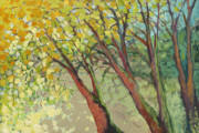 Yellow Trees Prints - An Afternoon at the Park Print by Jennifer Lommers