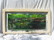 Impressionism Glass Art Originals - An Afternoon By A Pond by Jeff Sie