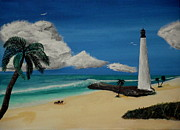 Cape Florida Lighthouse Posters - An Afternoon By The Lighthouse Poster by Spencer Hudon II