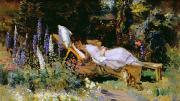Spring Scenes Paintings - An Afternoon Nap by Harry Mitten Wilson