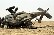 Helicopter Art - An Ah-64 Apache Helicopter Crashed by Stocktrek Images