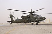 Rotor Blades Art - An Ah-64 Apache Helicopter Taxiing by Terry Moore