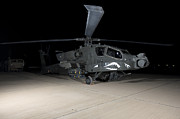 Rotor Blades Art - An Ah-64d Apache Longbow At Night by Terry Moore