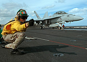 Enterprise Prints - An Airman Gives The Signal To Launch An Print by Stocktrek Images