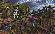 Illustrative Digital Art Prints - An Alien Being Surveys The Colorful Print by Mark Stevenson