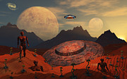 Biorobotics Posters - An Alien Flying Saucer Comes Poster by Mark Stevenson