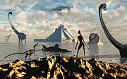 Wildlife Sculpture Acrylic Prints - An Alien World Where Reptoid Beings Acrylic Print by Mark Stevenson