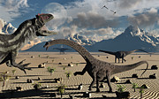 Wild Imagination Prints - An Allosaurus Confronts A Small Group Print by Mark Stevenson