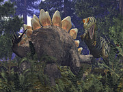Aggressive Digital Art - An Allosaurus Stumbles Upon A Grazing by Walter Myers