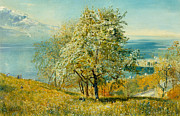 Trees Blossom Paintings - An Alpine Lake by John William Inchbold
