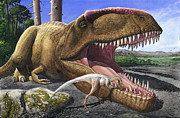 Biting Posters - An Alvarezsaurid Bird Cleans The Mouth Poster by Sergey Krasovskiy