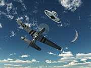 Flying Saucer Prints - An American P-51 Mustang Gives Chase Print by Mark Stevenson
