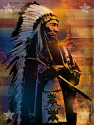 Native Americans Painting Framed Prints - An American Sunrise Framed Print by Paul Sachtleben
