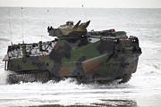 Beachhead Posters - An Amphibious Assault Vehicle Drives Poster by Stocktrek Images