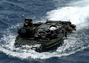 Watercraft Photos - An Amphibious Assault Vehicle Navigates by Stocktrek Images