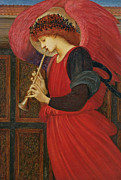 Hand Painting Metal Prints - An Angel Playing a Flageolet Metal Print by Sir Edward Burne-Jones