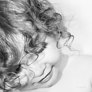Curly Hair Prints - An Angels Smile - Black and White Print by Kerri Ligatich