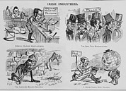 Emigration Photo Posters - An Anti-irish Cartoon Entitled Irish Poster by Everett