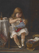 Doll Paintings - An Anxious Mother by Percival de Luce