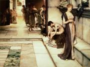 Bath Room Tapestries Textiles Posters - An Apodyterium Poster by Sir Lawrence Alma-Tadema