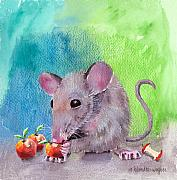 Mouse Mixed Media Posters - An Apple A Day Poster by Arline Wagner